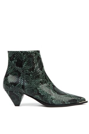 GREEN PYTHON LEATHER ANKLE BOOTS FW 2019 ALDO CASTAGNA | 52 | 119-DESIPITONEVERDE