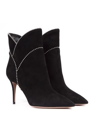 BLACK SUEDE ANKLE BOOTS WITH STUDS FW 2019 AQUAZZURA | 52 | MERCURYBOOTIE 85000