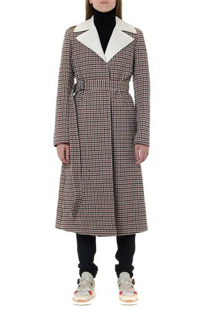 WHITE & RED VIRGIN WOOL CHECKED COAT FW 2019 CHLOÉ | 31 | C19AMA02066UNI9J0
