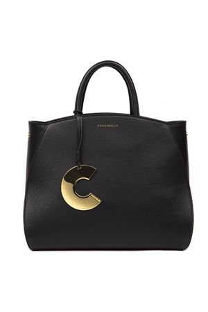CONCRETE MEDIUM BLACK LEATHER BAG FW 2019 COCCINELLE | 2 | E1 ELA 18 01 01CONCRETE001