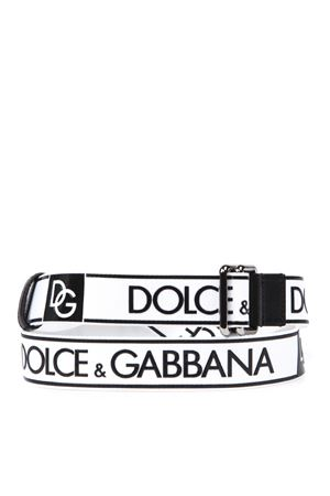 WHITE AND BLACK FABRIC AND LEATHER LOGO BELT FW 2019 DOLCE & GABBANA   12   BC4267AA65789697