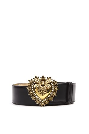 BLACK LEATHER DEVOTION BELT FW 2019 DOLCE & GABBANA | 12 | BE1316AK86180999