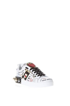 MUSIC PRINTED LEATHER SNEAKERS WITH PATCH FW 2019 DOLCE & GABBANA | 55 | CK0151AH0768S534