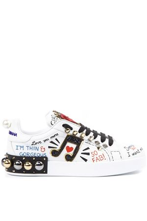 WHITE LEATHER PORTOFINO SNEAKERS WITH APPLICATIONS FW 2019 DOLCE & GABBANA | 55 | CK1562AH0768S534
