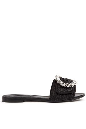 BLACK LEATHER & VISCOSE JEWEL SLIDER SANDAL FW 2019 DOLCE & GABBANA | 87 | CQ0291AA71080999