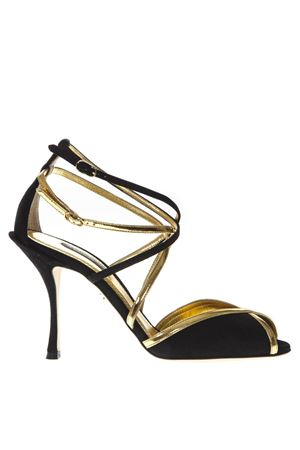 KEIRA BLACK SUEDE AND GOLD LEATHER SANDALS FW 2019 DOLCE & GABBANA | 87 | CR0712AZ47689718