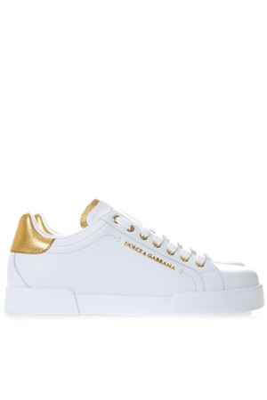 WHITE AND GOLD CALFSKIN NAPPA PORTOFINO SNEAKERS SS 2019 DOLCE & GABBANA | 55 | CS1591AN2988B996