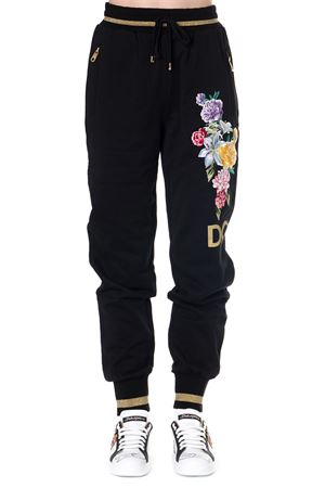 BLACK COTTON SPORT TROUSERS WITH FLORAL EMBROIDERY FW 2019 DOLCE & GABBANA | 8 | FTBF1ZG7TBHN0000
