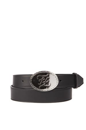 EMBOSSED LOGO BUCKLE BLACK LEATHER BELT FW 2019 FENDI | 12 | 7C04162IHF0GXN