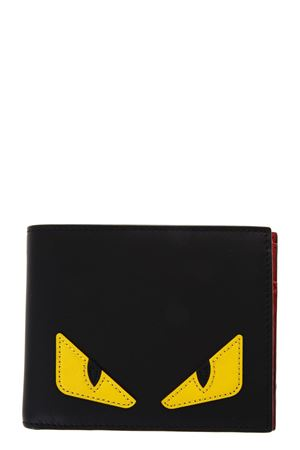 BAG BUGS BLACK AND YELLOW LEATHER WALLET FW 2019 FENDI | 5 | 7M0001O73F0U9T