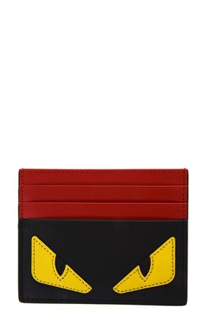 BLACK, YELLOW AND RED LEATHER BAG BUGS CARD HOLDER FW 2019 FENDI | 5 | 7M0164O73F0U9T