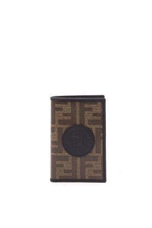 BROWN AND BLACK FABRIC CARD HOLDER WITH MONOGRAM PRINT FW 2019 FENDI | 34 | 7M0262A5K4F17PZ
