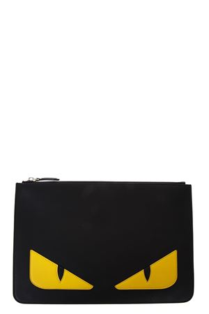 BLACK AND YELLOW LEATHER POUCH BAG BUGS FW 2019 FENDI | 5 | 7N0078O73F0WAD