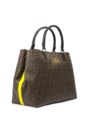 SHOPPER IN TESSUTO MARRONE CON MONOGRAMMA AI 2019 FENDI | 2 | 7VA467A80PF17Q0
