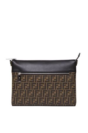 BLACK AND BROWN MESSENGER BAG IN LEATHER AND FABRIC WITH MONOGRAM FW 2019 FENDI | 2 | 7VA470A80PF17Q0
