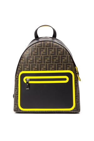 BROWN AND YELLOW BACKPACK WITH MONOGRAM FW 2019 FENDI | 2 | 7VZ042A80OF17Q0
