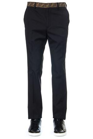 BLACK BLEND COTTON  PANTS WITH LOGO FW 2019 FENDI | 8 | FB0366A74QF0QA1
