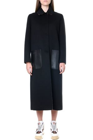BLACK WOOL REVERSIBLE COAT WITH MONOGRAM INNER