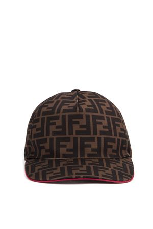 BROWN AND RED LOGO BASEBALL CAP FW 2019 FENDI | 17 | FXQ768A66OF0TM4