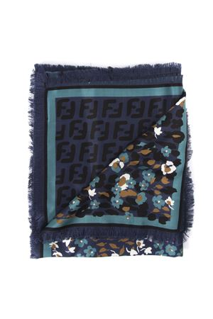 BLUE SILK AND WOOL SHAWL WITH FLORAL PRINT FW 2019 FENDI | 20 | FXT069A7O0F0V6W