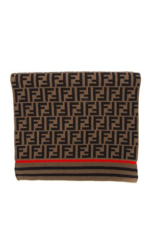 BROWN WOOL AND CASHMERE SCARF WITH LOGO FW 2019 FENDI | 20 | FXT259A3OVF0TM4