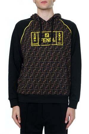 BLACK AND BROWN COTTON SWEATSHIRT WITH YELLOW LOGO FW 2019 FENDI | 19 | FY0991A87EF0JNH