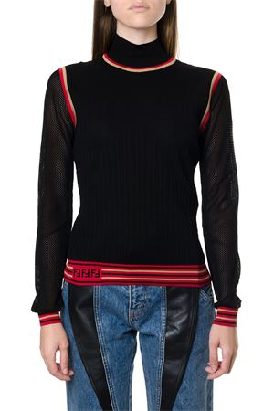 BLACK AND RED SILK SWEATER WITH LOGO FW 2019 FENDI | 16 | FZY863A8KSF0GME