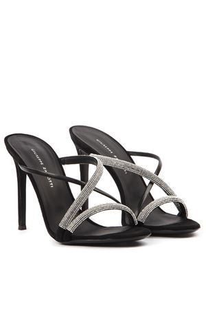 CROISETTE CRYSTAL BLACK LEATHER SANDALS FW 2019 GIUSEPPE ZANOTTI | 48 | I900029YES RIC001