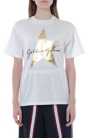 WHITE COTTON LOGO STAR T-SHIRT FW 2019 GOLDEN GOOSE DELUXE BRAND | 15 | G35WP0241L1