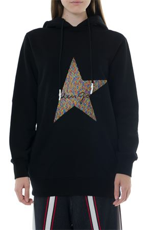 BLACK COTTON HOODIE EMBROIDERY STAR SWEATSHIRT 