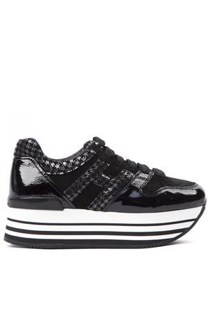 MAXI H222 BLACK PATENT LEATHER TWEED PRINTED SNEAKERS FW 2019 HOGAN | 55 | HXW2830T548LKF0QS5