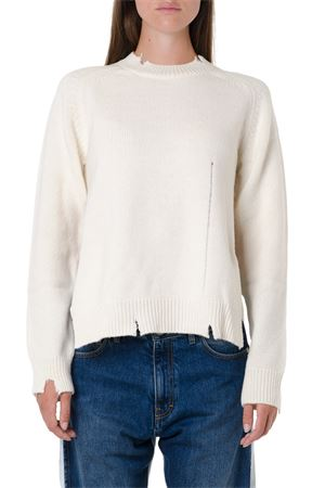 WHITE WOOL CUTS RIBBED SWEATER FW 2019 MAISON MARGIELA | 16 | S51GP0134S16893101