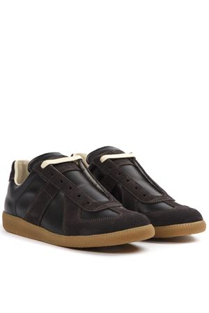 BROWN LEATHER AND SUEDE REPLICA SNEAKERS FW 2019 MAISON MARGIELA | 55 | S57WS0236P1895900