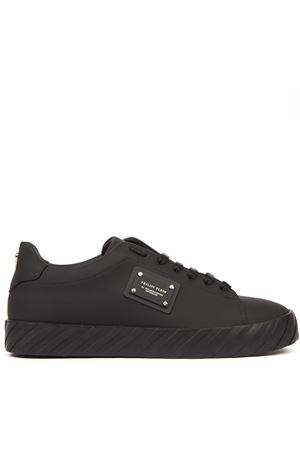 BLACK RUBBERIZED LEATHER SNEAKERS WITH LOGO PLAQUE FW 2019 PHILIPP PLEIN | 55 | A19SMSC2452PLE008N01
