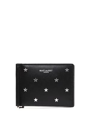 EMBOSSED ICONIC STARS BLACK LEATHER BILL CLIP WALLET FW 2019 SAINT LAURENT | 34 | 3780050O7GN1054