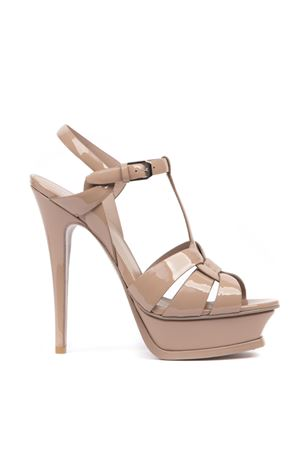 NUDE PATENT LEATHER TRIBUTE SANDALS FW 2019 SAINT LAURENT | 87 | 457752B8I009935