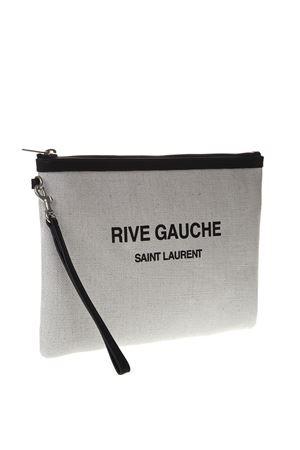 RIVE GAUCHE BAG IN WHITE LINEN AND BLACK LEATHER FW 2019 SAINT LAURENT | 5 | 5657229J58E9273
