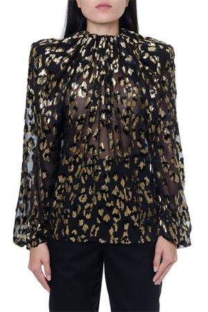 GOLDEN BLACK LAMÉ LEOPARD VELVET ROUCHED BLOUSE 