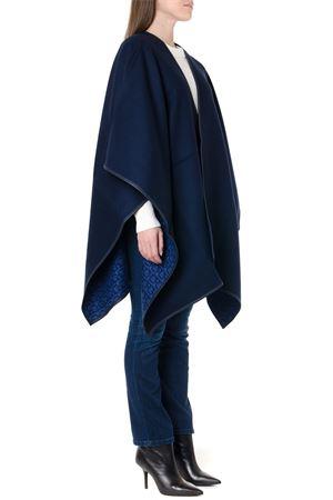 BLUE AND BLACK WOOL DOUBLE FACE GANCINI CAPE FW 2019 SALVATORE FERRAGAMO | 31 | 3278380713568DEEP NAVY