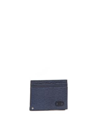 CARD HOLDER WITH PULL-OUT DOCUMENTS POCKET IN NAVY LEATHER FW 2019 SALVATORE FERRAGAMO | 34 | 66A0610704878016