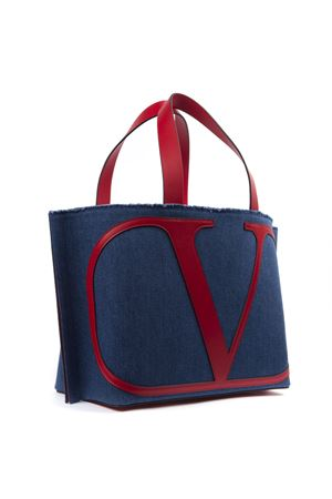 BLUE AND RED DENIM AND LEATHER HANDBAG WITH LOGO FW 2019 VALENTINO GARAVANI | 2 | SW2B0E70QJRIY0