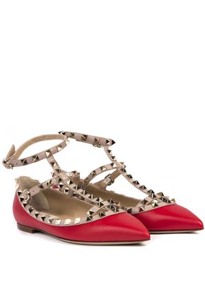 RED  LEATHER ROCKSTUD BALLERINAS FW 2019 VALENTINO GARAVANI | 150 | SW2S0376VOD95B