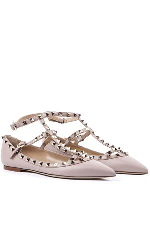 POWDER LEATHER ROCKSTUD CAGED BALLET FLAT FW 2019 VALENTINO GARAVANI | 150 | SW2S0376VODP45