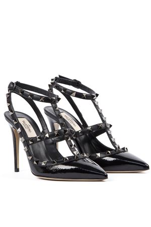 BLACK ROCKSTUD NAPLAK PAINTED LEATHER 100MM PUMPS 