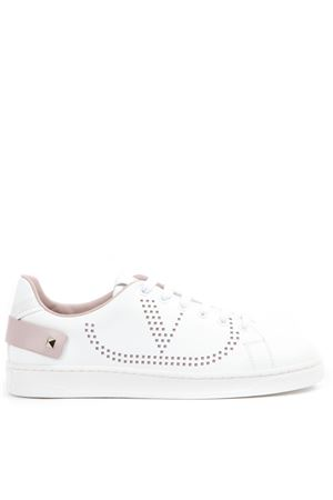 WHITE AND PINK LEATHER VLOGO SNEAKERS FW 2019 VALENTINO GARAVANI | 55 | SW2S0M20DYH834