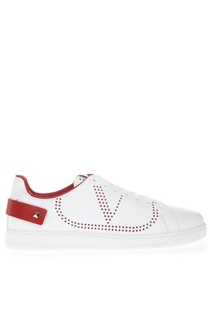 WHITE & RED VLOGO LEATHER SNEAKER SS19 VALENTINO GARAVANI | 55 | SY2S0C04DYHDS5