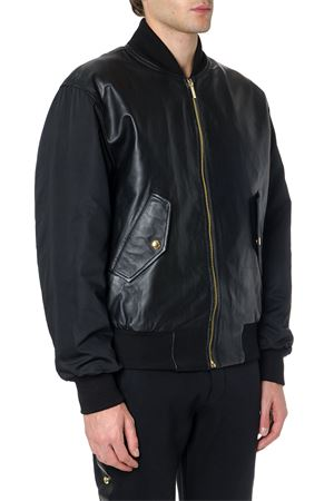 BLACK LEATHER & NYLON BOMBER JACKET FW 2019 VERSACE JEANS | 27 | EC.GUB9P3.25017UNI899