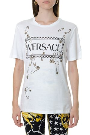 WHITE COTTON T-SHIRT WITH LOGO PRINT FW 2019 VERSACE | 15 | A83849A228806A1001