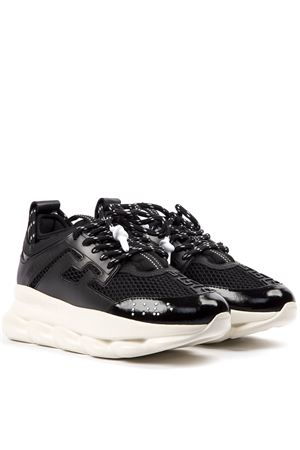 BLACK CHAIN REACTION LEATHER SNEAKER FW 2019 VERSACE | 55 | DSR705GD36TGD41