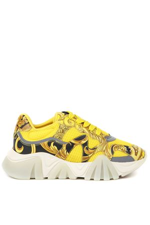 SQUALO YELLOW MESH & LEATHER SNEAKERS FW 2019 VERSACE | 55 | DST113GD18TVD914